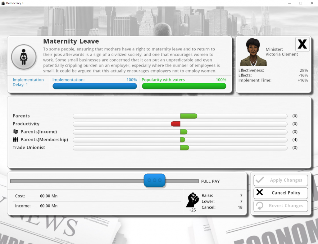 democracy 3 maternal leave