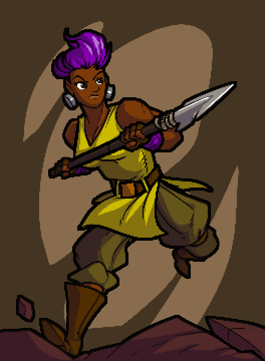 A full body portrait of Bolt. They have bright purple hair, large bolt-like earrings, a yellow sleeveless tunic, and dull green pants with brown boots.