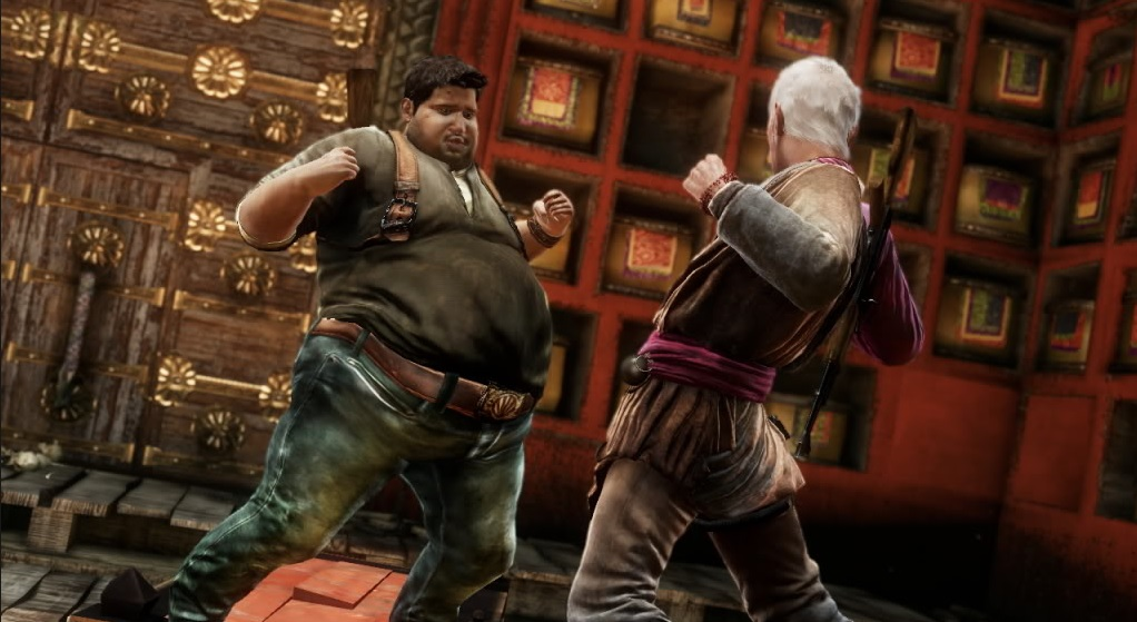 Uncharted's Doughnut Drake fighting a foe. Doughnut Drake is an overweight version of his original counterpart.