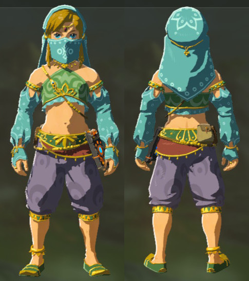 A comparison of Link's Gerudo outfit from the front and back. The outfit include a light blue veil, blue and green crop top, and dark blue, knee high sirwal.