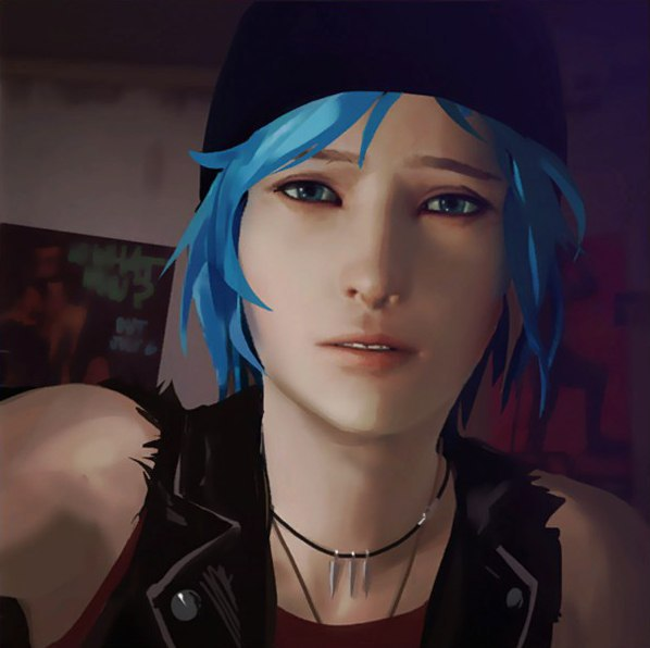 A shoulder-up screenshot of Chloe Price. She is wearing a black beanie over her dyed blue hair, a red tank top with a black leather vest, and a necklace with three bullet charms.