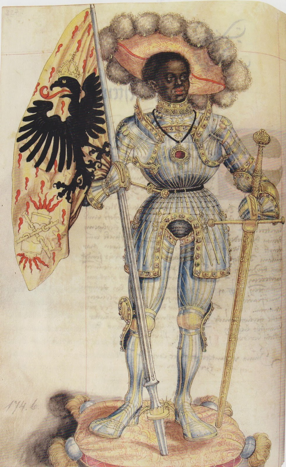 Medieval art depicting Saint Maurice, a black man in knight's armor bearing the standard of the Holy Roman Empire.
