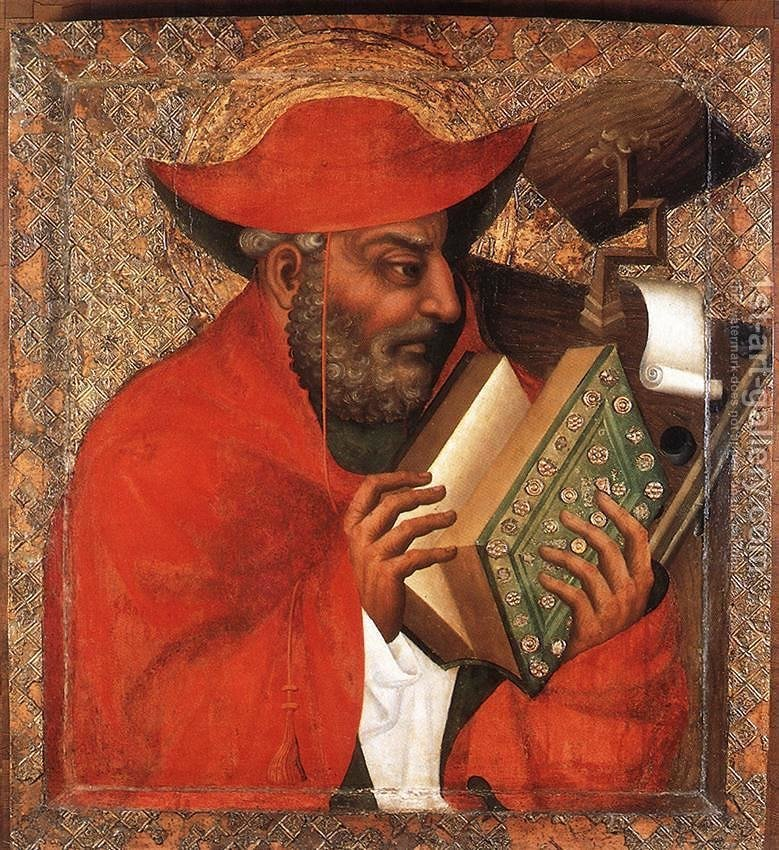 Medieval portrait of Saint Jerome by Bohemian artist Theoderic. Jerome is pictured reading at his study.