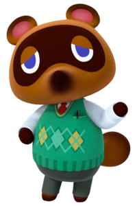 Tom Nook, a raccoon wearing a green sweater vest.