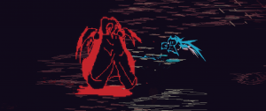 Blue Lucah fights a red nightmare demon.