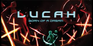 Lucah: Born of a Dream title image, featuring a more human-like image of a blue Lucah surrounded in crosses of bright neon orange.