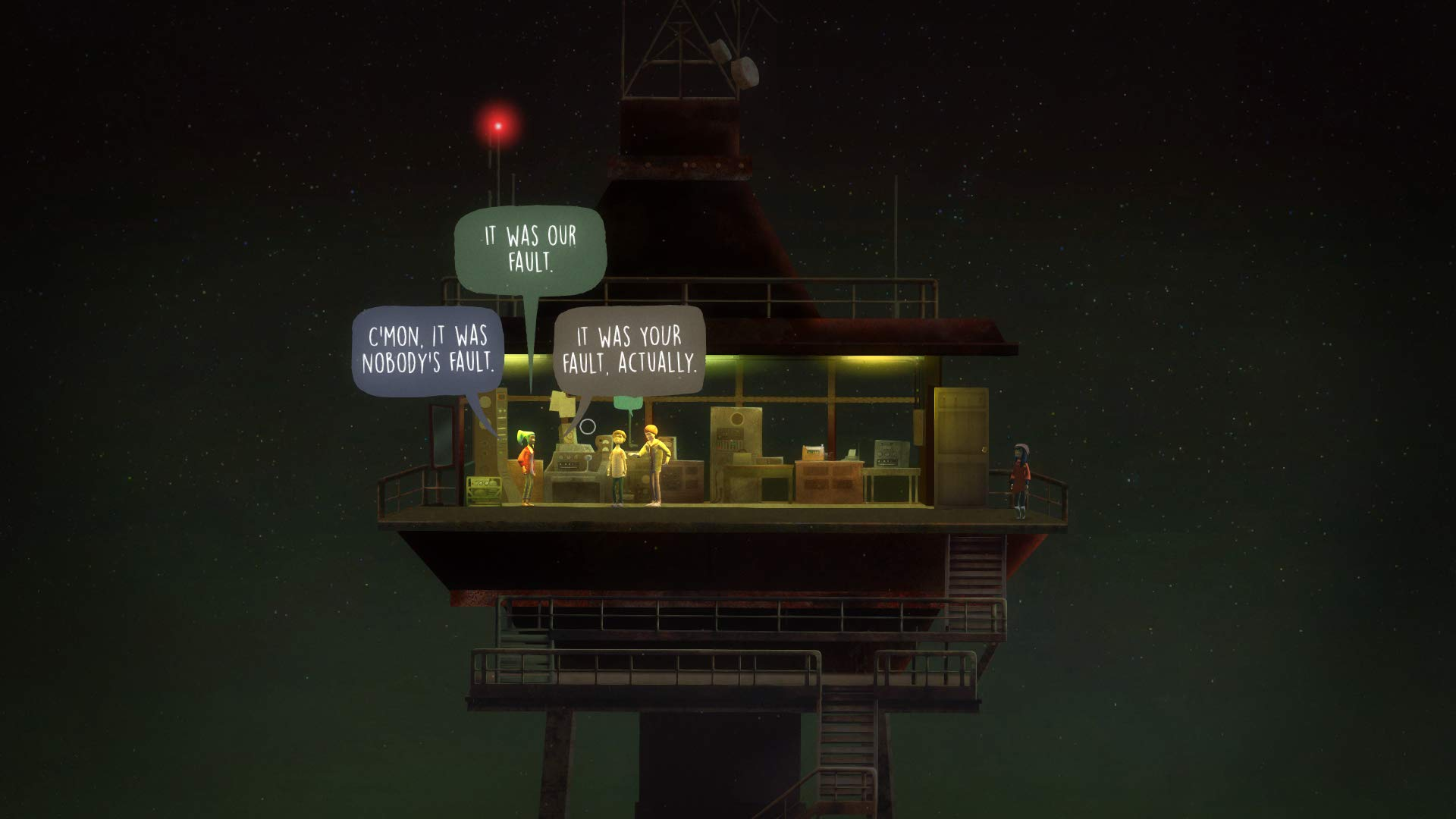 Oxenfree allows the player to explore the characters' grief.