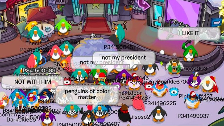Club Penguin characters participate in a protest.