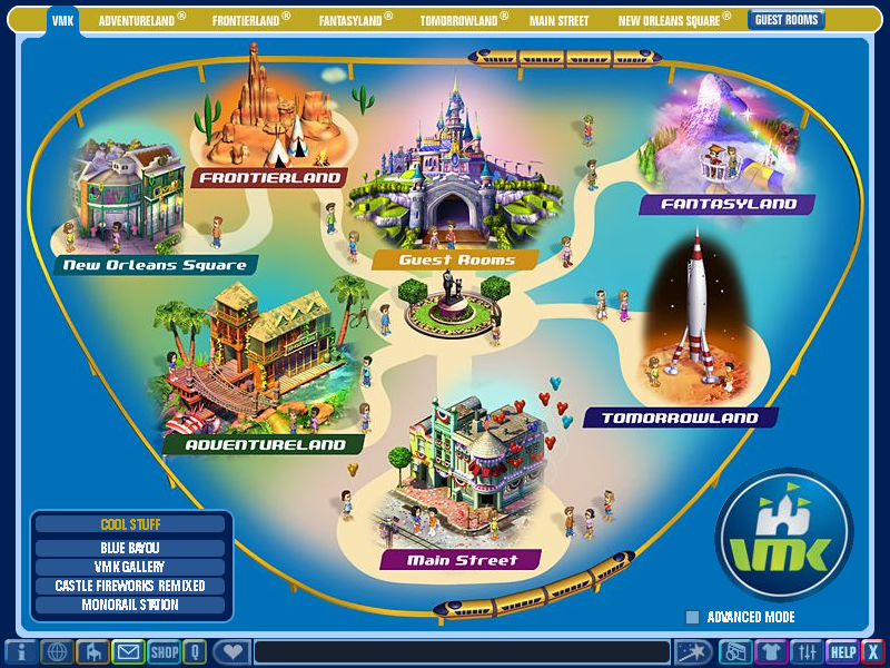 A map of the different lands in Virtual Magic Kingdom
