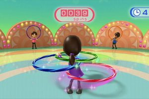 A Mii avatar hula hooping in a Wii Fit game.