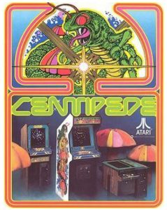 """Centipede"" arcade machines beneath an illustration of ""Centipede."""