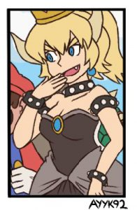 Image of Bowsette by Twitter user ayyk92--a blonde woman with horns and a crown, wearing a black dress.
