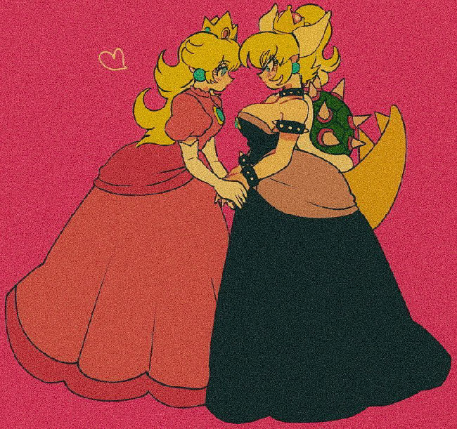 A blonde woman in a pink dress and wearing a crown, with a heart symbol nearby that indicates she is romantically interested in the other woman she's holding hands with. This other woman is also blonde and has a crown, but she's wearing a black dress, and she has horns and a tail.