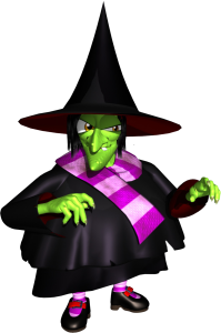 A green witch with a crooked nose and pointy witch hat
