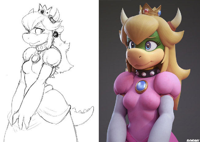 Black-and-white sketch and 3D sculpture of a female humanoid with long hair, a reptilian snout, tail, horns, wearing a crown and a dress.