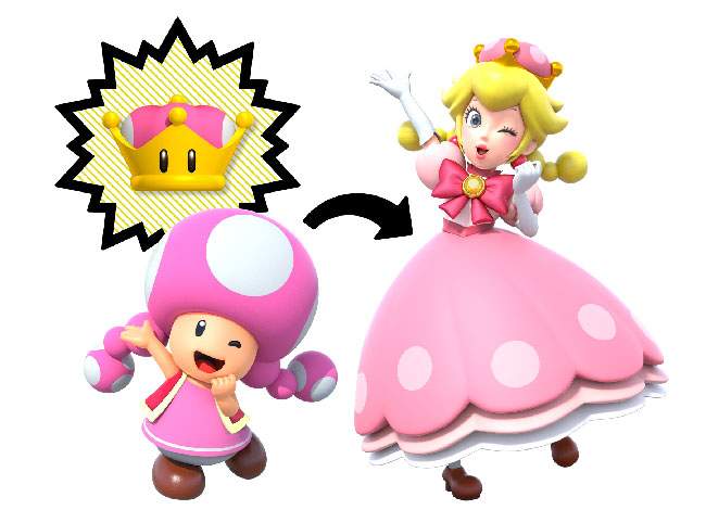 An image of Toadette--a small pink mushroom-like creature--turning into Peachette--a blonde woman in a pink dress--with the help of the Super Crown.