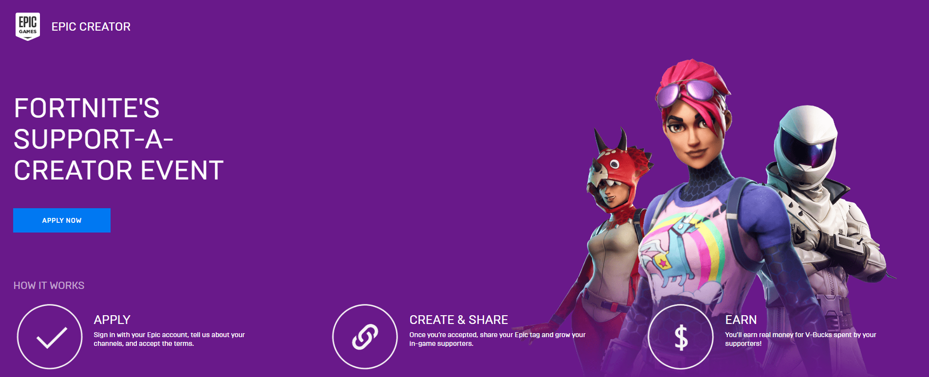 Fortnite Support a Creator Event