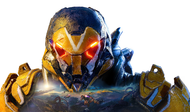 """Anthem"" illustration of a yellow, robotic-looking bust."