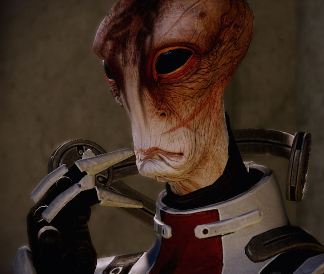 "Image of ""Mass Effect 2"" character Mordin Solus, a scarred alien."