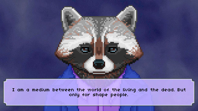 "Screenshot of ""The Raccoon Who Lost Their Shape."" Done in pixel art. Anthropomorphic raccoon wearing casual clothes. Text box describing Raccoon's thoughts and/or words."