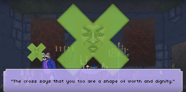 "Screenshot of ""The Raccoon Who Lost Their Shape."" Done in pixel art. Anthropomorphic cross in a room with many candles, and with an anthropomorphic raccoon wearing casual clothes. There is a text box describing dialogue from the cross."