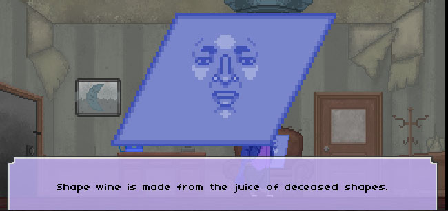 "Screenshot of ""The Raccoon Who Lost Their Shape."" Done in pixel art. Anthropomorphic rhombus-identifying-as-a-diamond in an office. There is a text box with the shape character's dialogue."