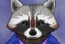 """Screenshot of """"The Raccoon Who Lost Their Shape."""" Done in pixel art. Anthropomorphic raccoon wearing casual clothes."""