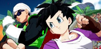 "Image of Videl and the Great Saiyaman (a.k.a. Gohan) from ""Dragon Ball FighterZ."" They look ready to fight. Videl is a young woman with short dark hair, wearing a white tank top over a purple shirt, black shorts, and fingerless gloves. The Great Saiyaman is a young man that looks like a superhero, with clothing like a red cape, green tunic, and dark sunglasses."