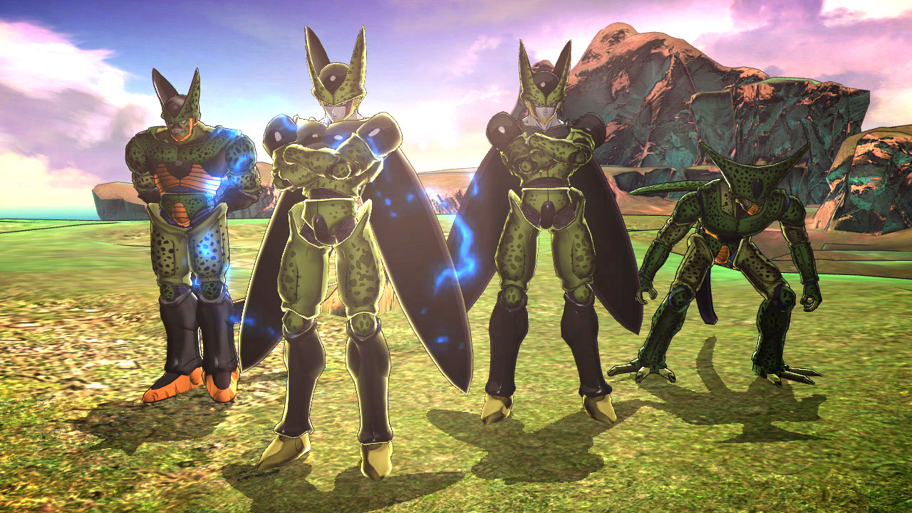 """Dragon Ball Z: Battle of Z"" screenshot featuring different forms of the insect-like Cell."