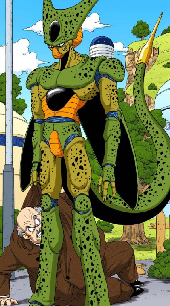 A color illustration of Cell as he first appears in the manga by Akira Toriyama. He looks like a mix of insectoid, reptilian, and human features.