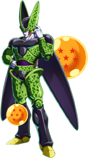 "An image of Cell from ""Dragon Ball Fighter Z."" Cell looks like a mix of insectoid, human, and reptilian features."