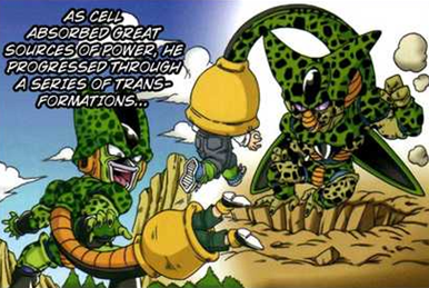 An illustration that shows incomplete forms of Cell (who looks insectoid and reptilian) absorbing androids through his tail.