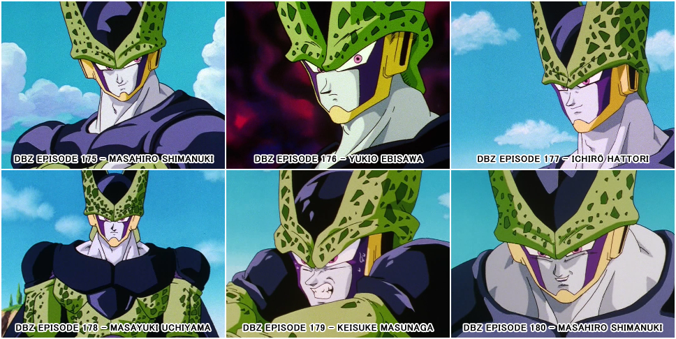 "Screenshots of different supervising animators' work on Cell in the ""Dragon Ball Z"" animated TV series."