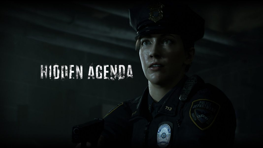 Becky Marnie clad in her police uniform next to the Hidden Agenda title card