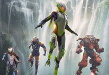 """Anthem"" illustration, featuring four flying armored warriors."
