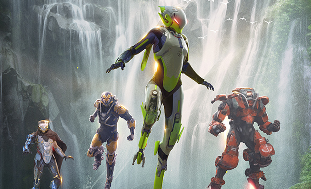 """""""Anthem"""" illustration, featuring four flying armored warriors."""